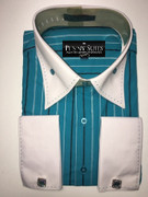 """ULTIMATE"" X-Large 17.5 Fashion Two-Tone Sport Shirt with Wide Collar and Cufflinks"