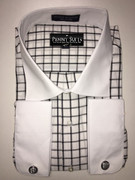 """ULTIMATE"" 4XL 20.5 Fashion Two-Tone Sport Shirt with Black Windowpanes and Cufflinks"