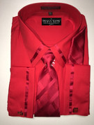 """ULTIMATE"" 3XL 19.5 Solid Red Box Pattern (Tie Matches with Collar & Cuffs) 4 pc. Dress Shirt Set"