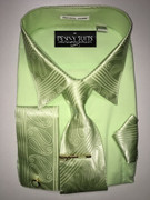 """ULTIMATE"" 4X-Large 20.5 Mint Green with Matching Paisley Accents on Cuffs-Collar-Tie 5 pc. Dress Shirt Set"