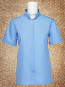 Tab Collar Women's Clergy Shirt Light Blue Short Sleeves