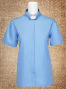 Tab Collar Women's Clergy Shirt Light Blue Short Sleeves