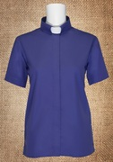 Tab Collar Women's Clergy Shirt Purple Short Sleeves