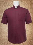 Tab Collar Men's Clergy Shirt Burgundy SS