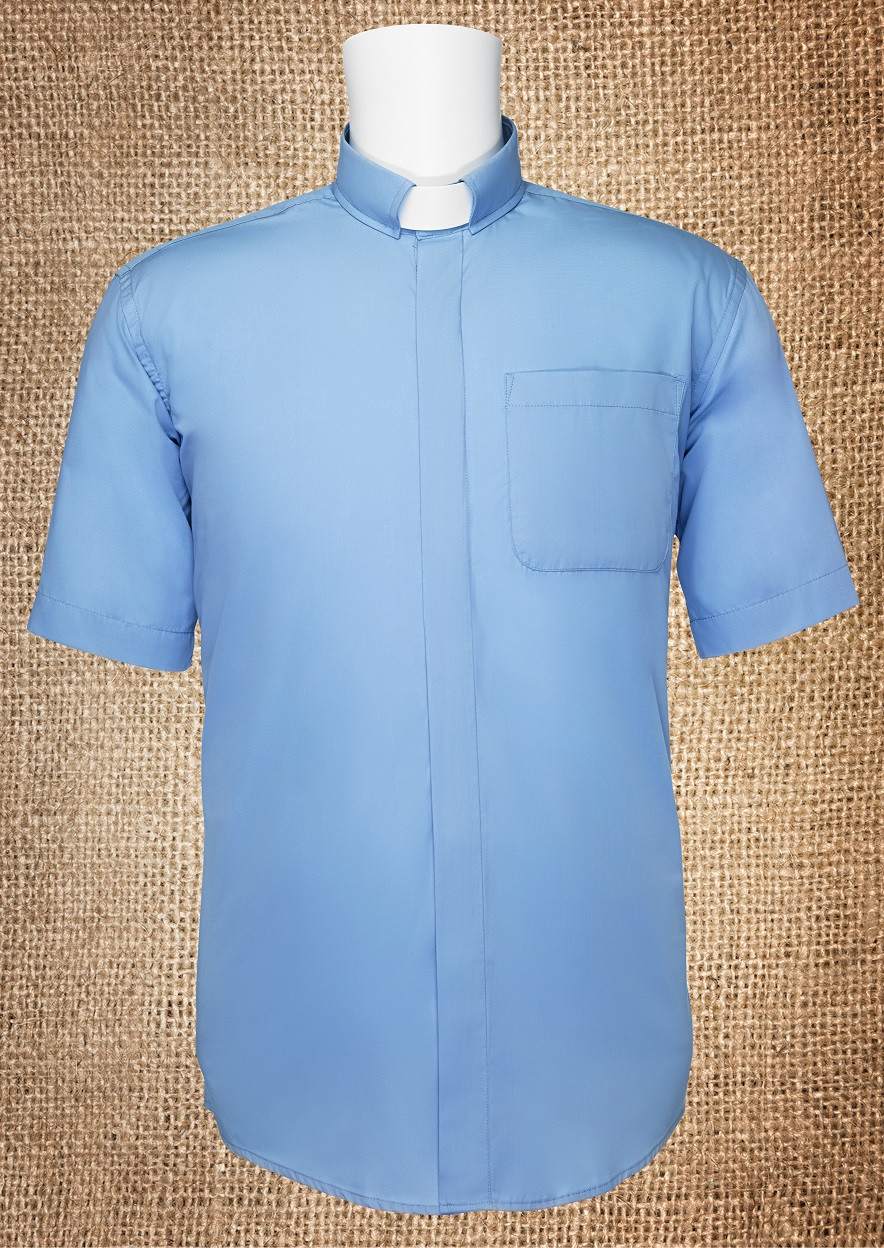 Mens Tab Collar Clergy Shirt Light Blue