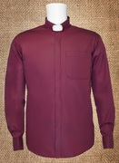 Tab Collar Men's Clergy Shirt Burgundy LS