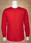 Men's Neckband Long-Sleeve Shirt Red and White Cuffs