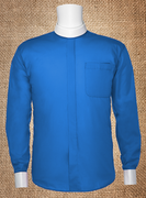 Men's Neckband Long-Sleeve Shirt Royal and White Cuffs
