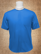 Men's Neckband Short Sleeves Shirt Royal Blue