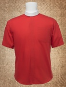 Men's Neckband Short Sleeves Shirt Red