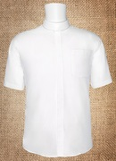 Men's Neckband Short Sleeves Shirt White