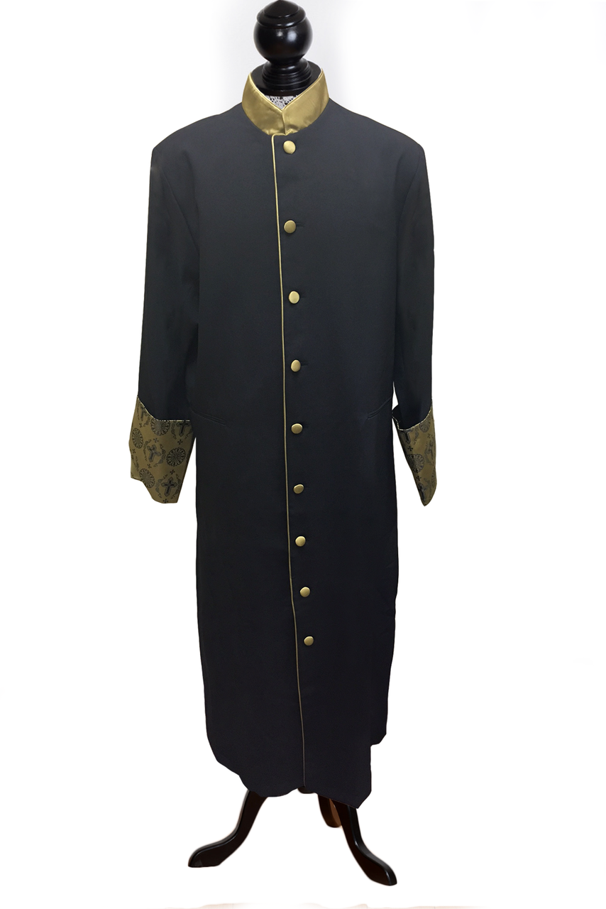 Women S Black Clergy Cassock With Special Yellow Gold Brocade Design