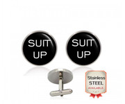"""Suit"" ""Up"" Suit Up Creative Black Written Circle Cufflinks with Silver Backing"