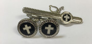 Classic Silver Circle Cross Cufflinks with Matching Tie Bar