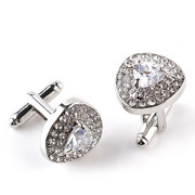 **Gorgeous Diamond-Look Stone Triangle Cufflinks in Silver