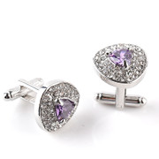 **Gorgeous Diamond-Look Stone Triangle Cufflinks in Lilac