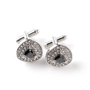 Gorgeous Diamond-Look Stone Triangle Cufflinks in Black