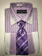 """ULTIMATE"" Medium 15.5 Lilac and White Two-Tone Zig-Zag Fashion Stripes 4 pc. Dress Shirt Set"