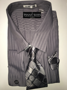"""""""ULTIMATE"""" 6XL 22.5 Silver Shadow Stripe with a Magnificent Tie 4 pc. Dress Shirt Set"""