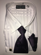 """ULTIMATE"" 6XL 22.5 Shadow Stripe White with Beautiful Tie 4 pc. Dress Shirt Set"