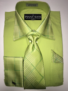 """ULTIMATE"" Medium 15.5 Lime Green Contrast with Intricate Design on Collar/Cuffs 3 pc. Dress Shirt Set"