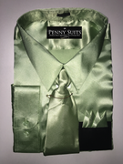 """ULTIMATE"" 3XL 19.5 Mint Money Green Satin Designo 3 pc. Dress Shirt Set"