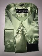 """ULTIMATE"" 3XL 19.5 Mint Money Green Satin Designo 3 pc. Dress Shirt Set"