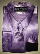"""ULTIMATE"" 2XL 18.5 Beautiful Lilac Designo 3 pc. Dress Shirt Set"