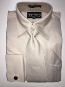 """ULTIMATE"" Large 16.5 Beige Taupe Minor Within Stripes 4 pc. Dress Shirt Set"