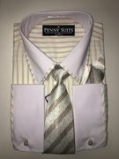 """ULTIMATE"" XL 17.5 Beige Brown Pinstripe Business Executive 4 pc. Dress Shirt Set"