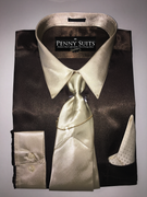 """ULTIMATE"" Medium 15.5 Two-Tone Brown/Beige Satin Designo 3 pc. Dress Shirt Set"