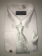 """ULTIMATE"" 3XL 19.5 Solid White Shirt with a Matching Tie 4 pc. Dress Shirt Set"