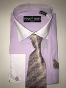 """ULTIMATE"" 2XL 18.5 Two-Tone Lilac and White Business Fashion Shirt with a Matching Tie 4 pc. Dress Shirt Set"