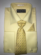 """ULTIMATE"" Medium 15.5 Yellow Business Fashion Shirt with a Matching Tie 4 pc. Dress Shirt Set"