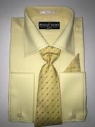"""ULTIMATE"" Medium 15.5 Yellow Business Fashion Shirt with a Matching Tie 4 pc. Dress Shirt Set"