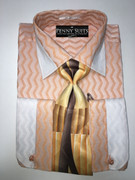 """ULTIMATE"" Medium 15.5 Cognac and White Two-Tone Zig-Zag Fashion Stripes 4 pc. Dress Shirt Set"