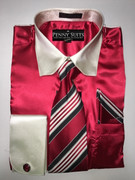 """ULTIMATE"" Medium 15.5 Two-Tone Creme and Red Satin Designo 3 pc. Dress Shirt Set"