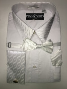 """ULTIMATE"" 2X-Large 18.5 White with Matching Paisley Accents on Cuffs-Collar-Bow Tie 4 pc. Dress Shirt Set"
