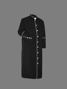 Men's Clergy Cassock Black and White Outline