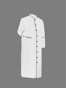 Men's Clergy Cassock White and Black Outline