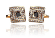 *Square Remarkable Gold Diamond-Look with Black Stone Cufflinks