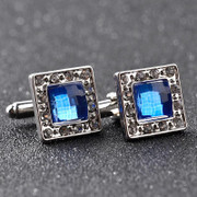 *Square Prominent Classy Silver Diamond-Look with Royal Blue Stone Cufflinks
