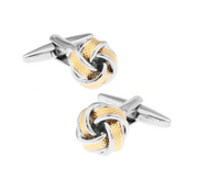 *French Ball Circular Original Classic Cufflinks - in Gold/Silver Combo