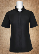 Ladies Clergy Dress Shirt Tab Collar Black Short Sleeves