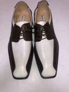 *ULTIMATE* Men's Brown White Dress Shoes Gator Formal FREE SHIPPING - SZ 10