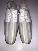 *ULTIMATE* Men's Creme Shiny Dress Shoes Metal Toe Stripe Formal FREE SHIPPING - SZ 15