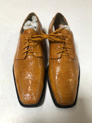 *ULTIMATE* Men's Mustard Yellow Shiny Exotic Printed Croc Dress Shoes FREE SHIPPING - SZ 10.5