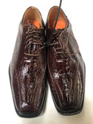 *ULTIMATE* Men's Brown Wine Exotic Crocodile Print Dress Shoes FREE SHIPPING - SZ 10.5