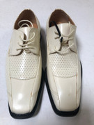 *ULTIMATE* Men's Creme Off-White Classy Tiny Hole Designed Dress Shoes FREE SHIPPING - SZ 11