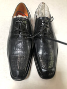 *ULTIMATE* Men's Black Gray Silver Pointed Exotic Croc Fancy Dress Shoes FREE SHIPPING - SZ 10